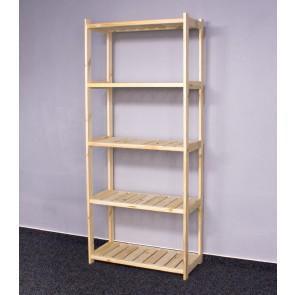 Dřevěný regál LS,  5 polic, 163x70x33 cm