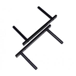 Nástěnný držák na lyže, 2 místný, černý