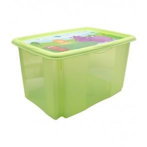 Plastový box Hippo, 45 l, zelený s víkem, 55x39,5x29,5 cm - POSLEDNÍCH 5 KS
