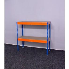 Kovový regál Galaxy, 2 police, 96x100x40 cm, 250 kg, modro oranžový