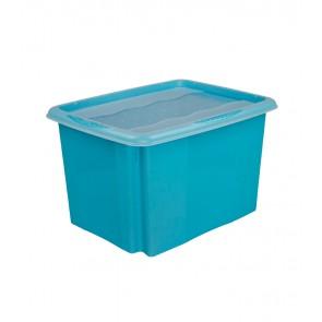 Plastový box Colours, 24 l, modrý s víkem POSLEDNÍCH 8 KS