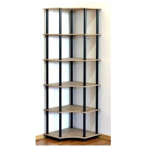 Regál rohový kombinovaný Dedal, 6 polic, 176x55x55 cm