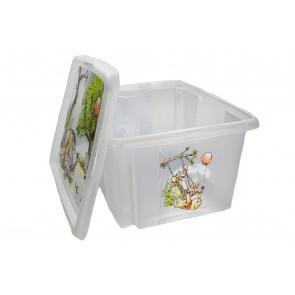 Plastový box Medvídek Pú, 24 l, průhledný s  víkem , 42x35x22 cm