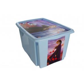 Plastový box Frozen, 24 l, modrý s víkem, 43x36x23 cm