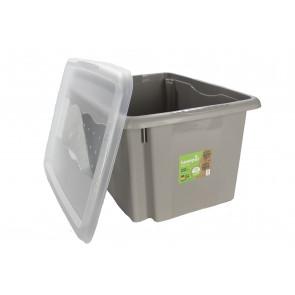 Plastový box Colours, 24 l, šedý s víkem