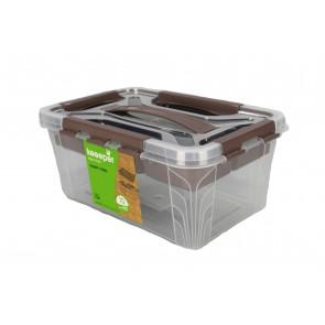 Plastový Clipp box s přihrádkou, 6,6 l , průhledný ,29x19x18 cm