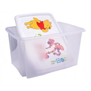 Plastový box Medvídek Pú, 45 l, průhledný s bílým víkem, 55x39,5x29,5 cm - POSLEDNÍ 4 KS