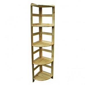 Dřevěný regál Rosar, 5 polic, 166x33x33 cm
