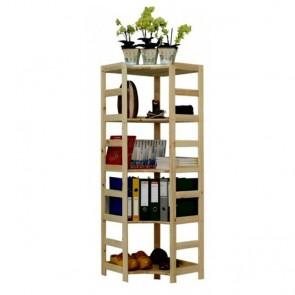 Dřevěný regál Rosar, 5 polic, 166x56x56 cm