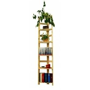 Dřevěný regál Rosar, 6 polic, 204x33x33 cm