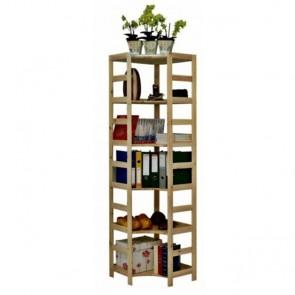 Dřevěný regál Rosar, 6 polic, 204x56x56 cm