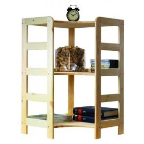 Dřevěný regál Rosar, 3 police, 89x56x56 cm