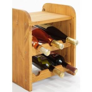 Regál na víno Ricos, na 6 lahví, Lazur - kaštan, 38 x 33 x 27 cm