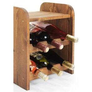 Regál na víno Ricos, na 6 lahví, odstín Lazur - palisandr, 38x33x27 cm