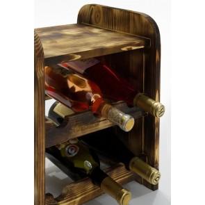 Regál na víno Ricos, na 6 lahví, odstín Rustikal, 38x33x27 cm