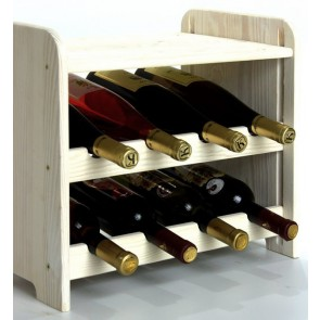 Regál na víno Romman, na 8 lahví, odstín Lazur - bílý, 38x42x27 cm