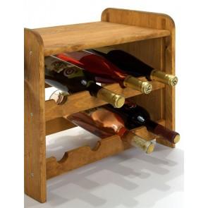 Regál na víno Romman, na 8 lahví, odstín Lazur - kaštan, 38x42x27 cm