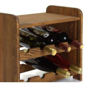 Regál na víno Romman, na 8 lahví, odstín Lazur - palisandr, 38x42x27 cm