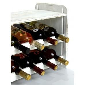 Regál na víno Romman, na 8 lahví, Provance - bílý, 38x42x27 cm