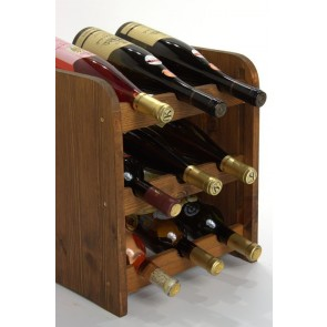 Stojan na víno Riccar, na 9 lahví, odstín Lazur - palisandr, 38x33x27 cm