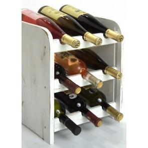Stojan na víno Riccar, na 9 lahví, odstín Provance - bílý, 38x33x27 cm