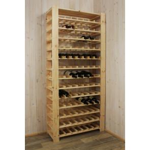 Stojan pro uskladnění vína, na 91 lahví, natur, s policí