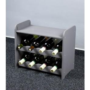 Regál na víno na 8 lahví, tmavě šedý, 38x42x27 cm