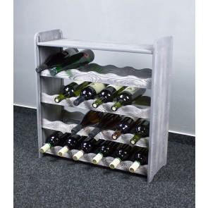 Regál na víno na 24 lahví, šedý, 65x63x27 cm
